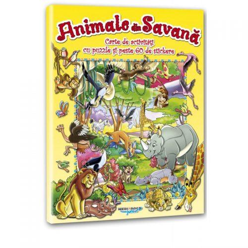 Animale din Savana: Carte de activitati cu puzzle si peste 60 de stickere (ed. tiparita)