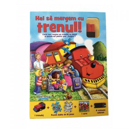 Hai sa mergem cu trenul!, carte + puzzle magnetic + masinuta (ed. tiparita)