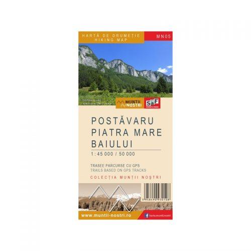 Harta de Drumetie - Muntii Postavaru, Piatra Mare, Baiului, Romana/Engleza (ed. tiparita)