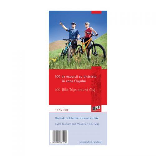 Harta de cicloturism si mountain bike 100 de excursii cu bicicleta in zona Clujului, Romana/Engleza (ed. tiparita)