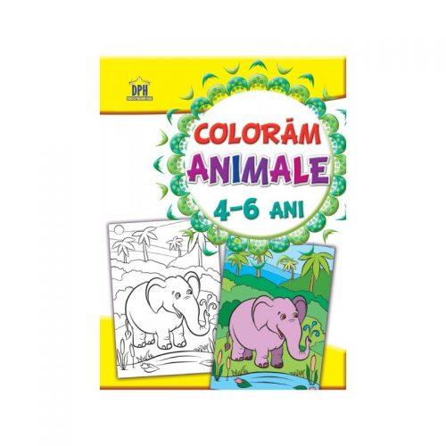 Coloram animale, carte de colorat pentru copii de 4-6 ani